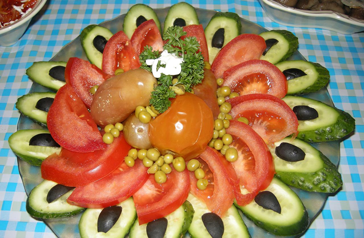 Фото Томаты Огурцы Еда Овощи Помидоры Пища Продукты питания
