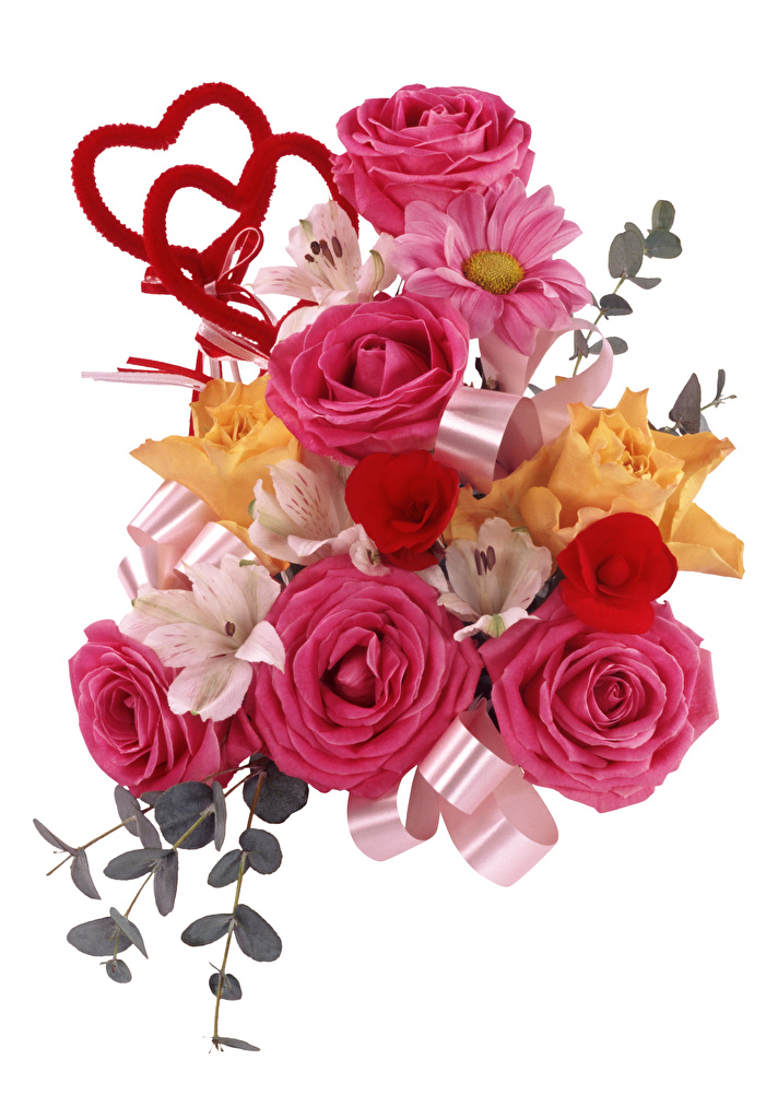 Картинка Сердце Букеты Розы Цветы Альстрёмерия Белый фон  для мобильного телефона серце сердца сердечко букет роза цветок белом фоне белым фоном