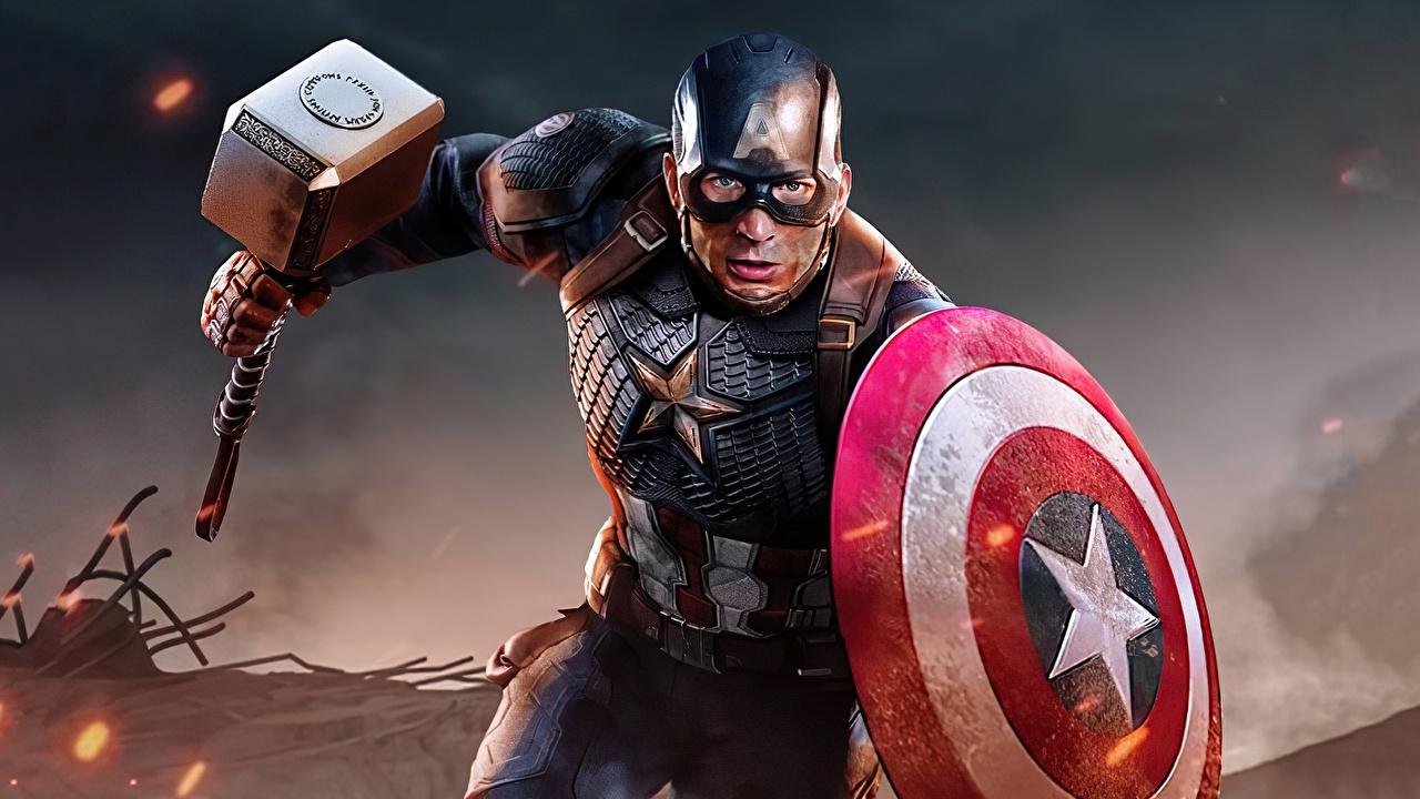 Картинки Chris Evans Щит Капитан Америка герой бежит боевым молотом Фантастика Знаменитости Крис Эванс щиты с щитом Бег бегущая бегущий Боевой молот Фэнтези