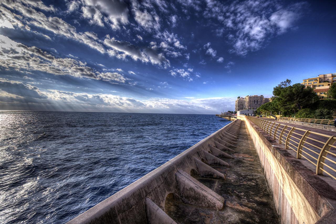 Фотографии Монте-Карло Монако HDR Небо Дороги Залив город Здания HDRI заливы залива Дома Города