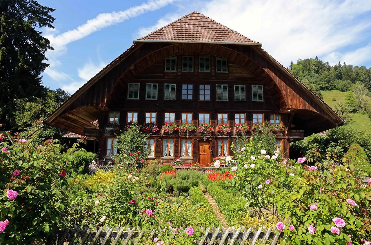 Обои для рабочего стола Швейцария Emmental Розы Особняк Города кустов Здания дизайна роза Дома город Кусты Дизайн