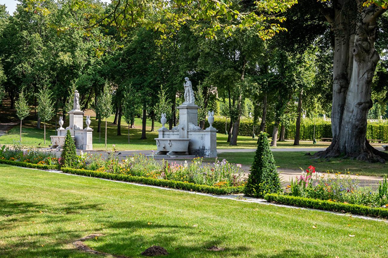 Фотографии Потсдам Германия Park Sanssouci Природа Парки Газон Деревья Скульптуры парк газоне дерево дерева деревьев скульптура