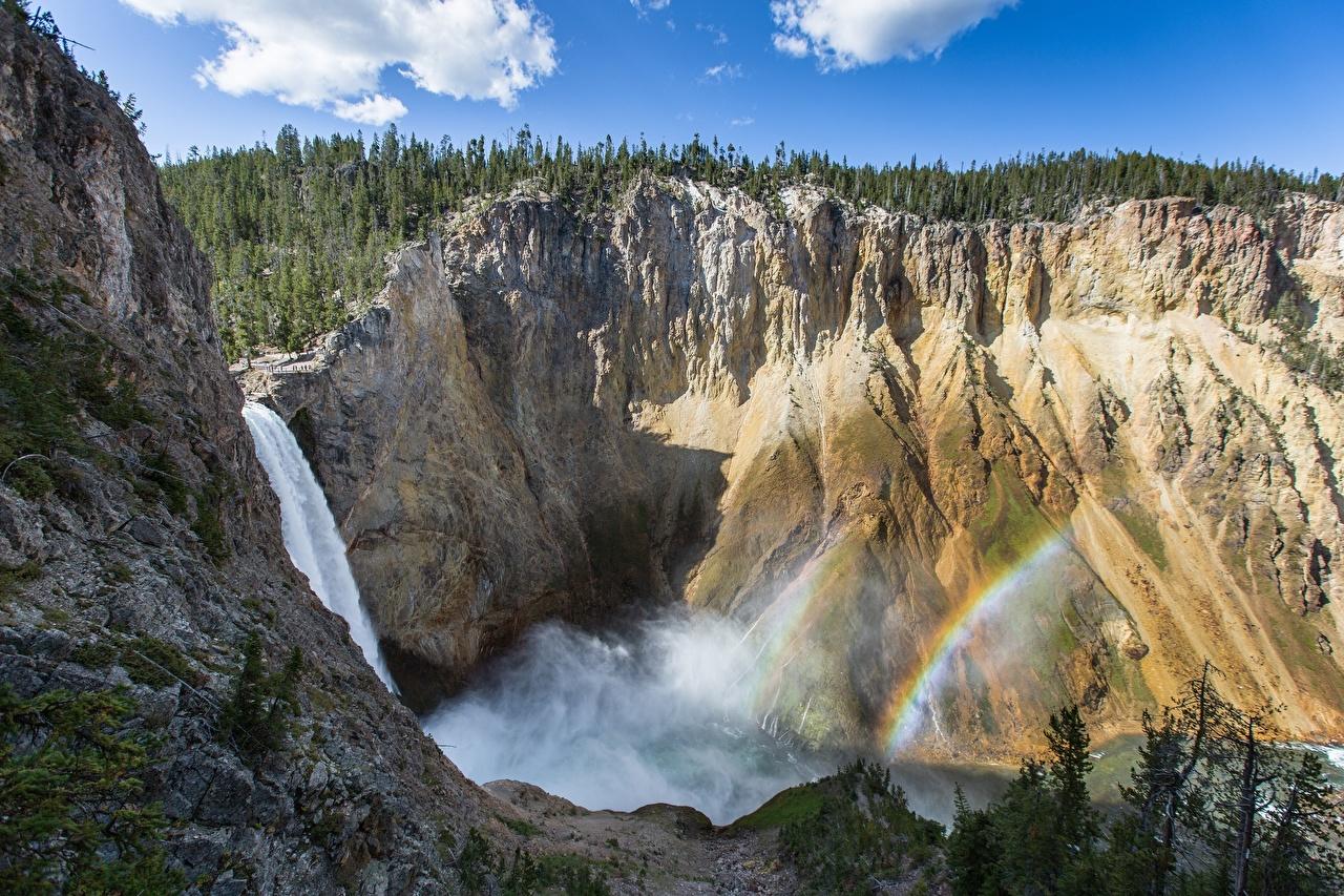Картинки Йеллоустон америка Wyoming Горы Утес Радуга Природа Водопады США штаты гора скалы скале Скала радуги