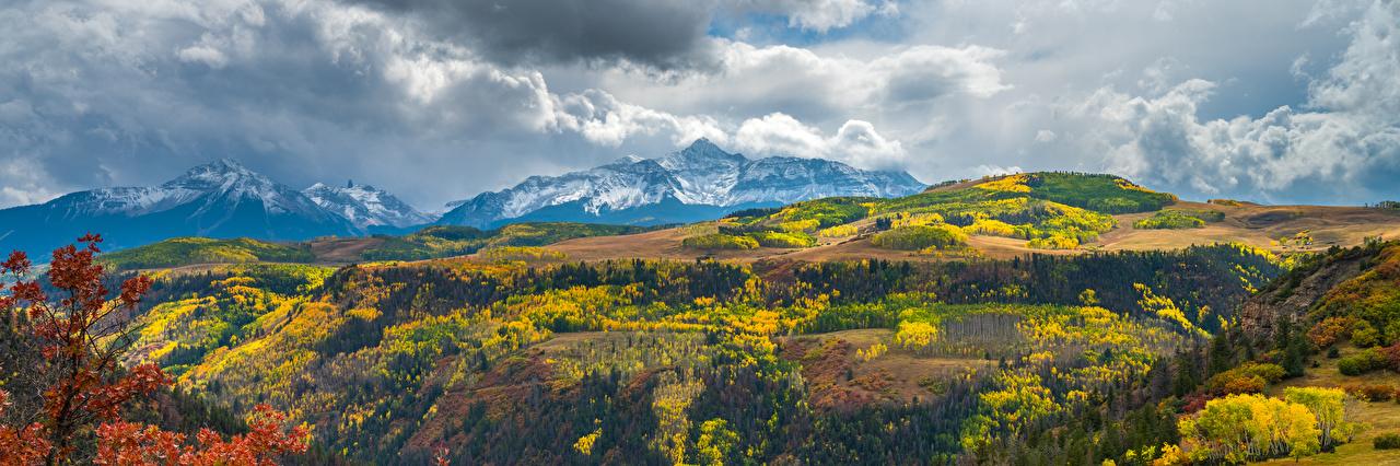Картинки штаты Панорама Colorado Горы Осень Природа Пейзаж облако США америка панорамная гора осенние Облака облачно