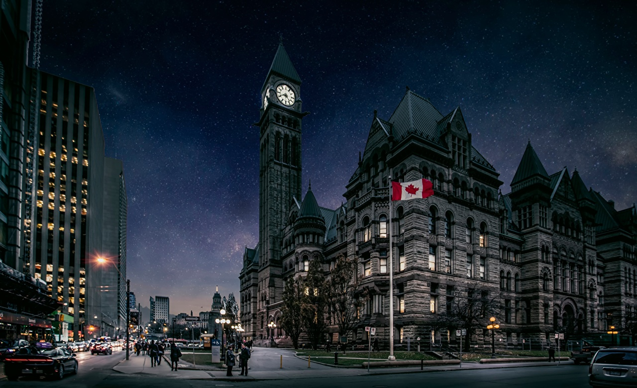 Фотография Канада Башня Toronto Улица Ночные Города Ночь