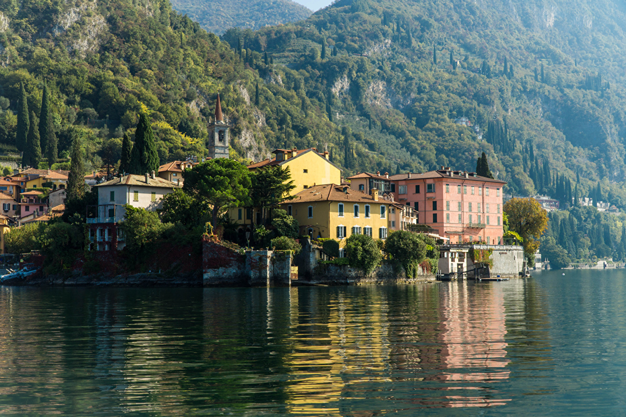 Картинка Италия Varenna Lake Como Озеро Дома Города город Здания