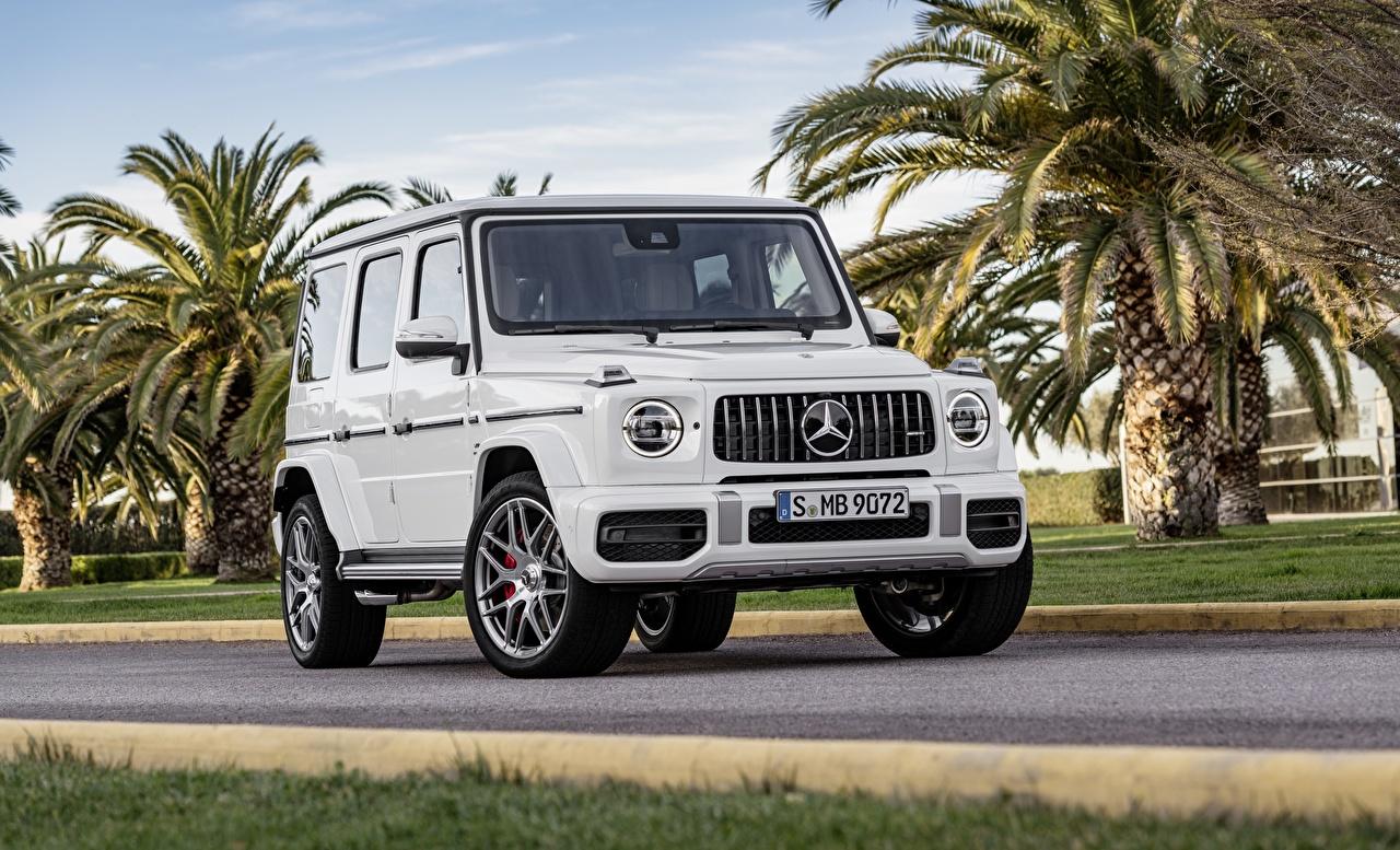 Картинки Мерседес бенц G-класс 2019 577 l / s AMG G63 белая авто Mercedes-Benz гелентваген Белый белые белых машина машины Автомобили автомобиль