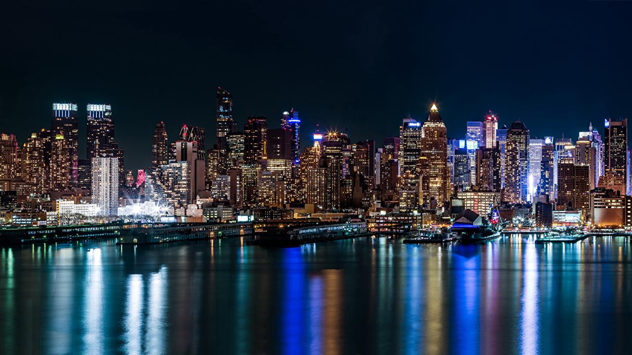 Картинка Нью-Йорк США ночью речка Небоскребы Города штаты америка Реки река Ночь в ночи Ночные город