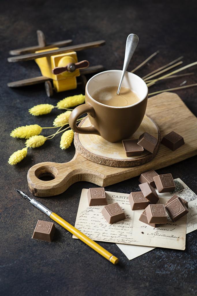 Фотография Горячий шоколад Шоколад Еда Чашка Разделочная доска Пища Продукты питания