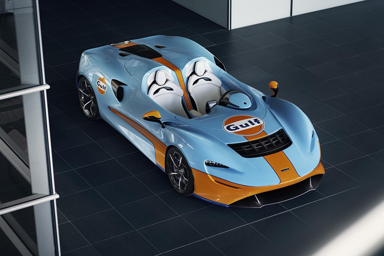 Обои для рабочего стола McLaren 2020 MSO Elva Gulf Theme Родстер Голубой машина Металлик Макларен голубая голубые голубых авто машины Автомобили автомобиль