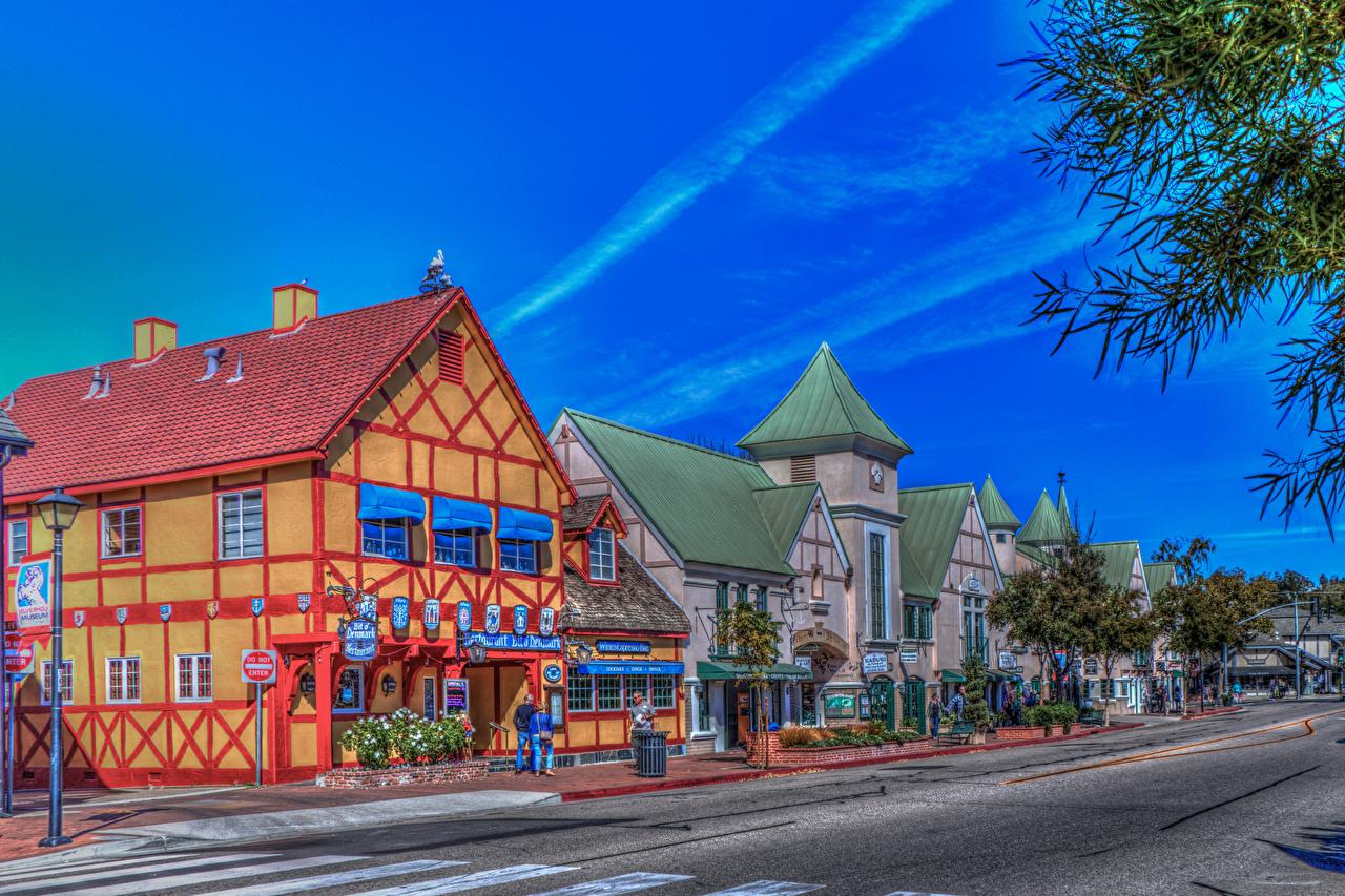 Картинки Калифорния США Solvang HDR Улица Дороги Города Здания штаты HDRI Дома