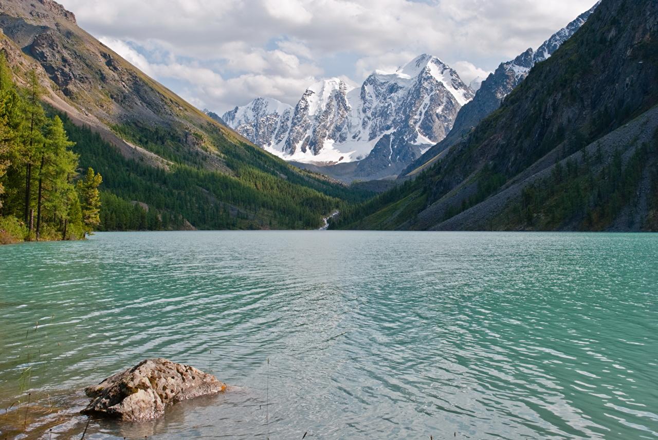 Картинка Россия Lower Shavlinskoe lake, mountain Altai Горы Природа Леса Озеро гора лес