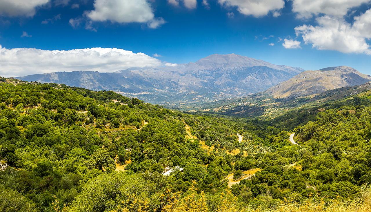 Картинка Crete гора Природа лес Пейзаж Облака Горы Леса облако облачно