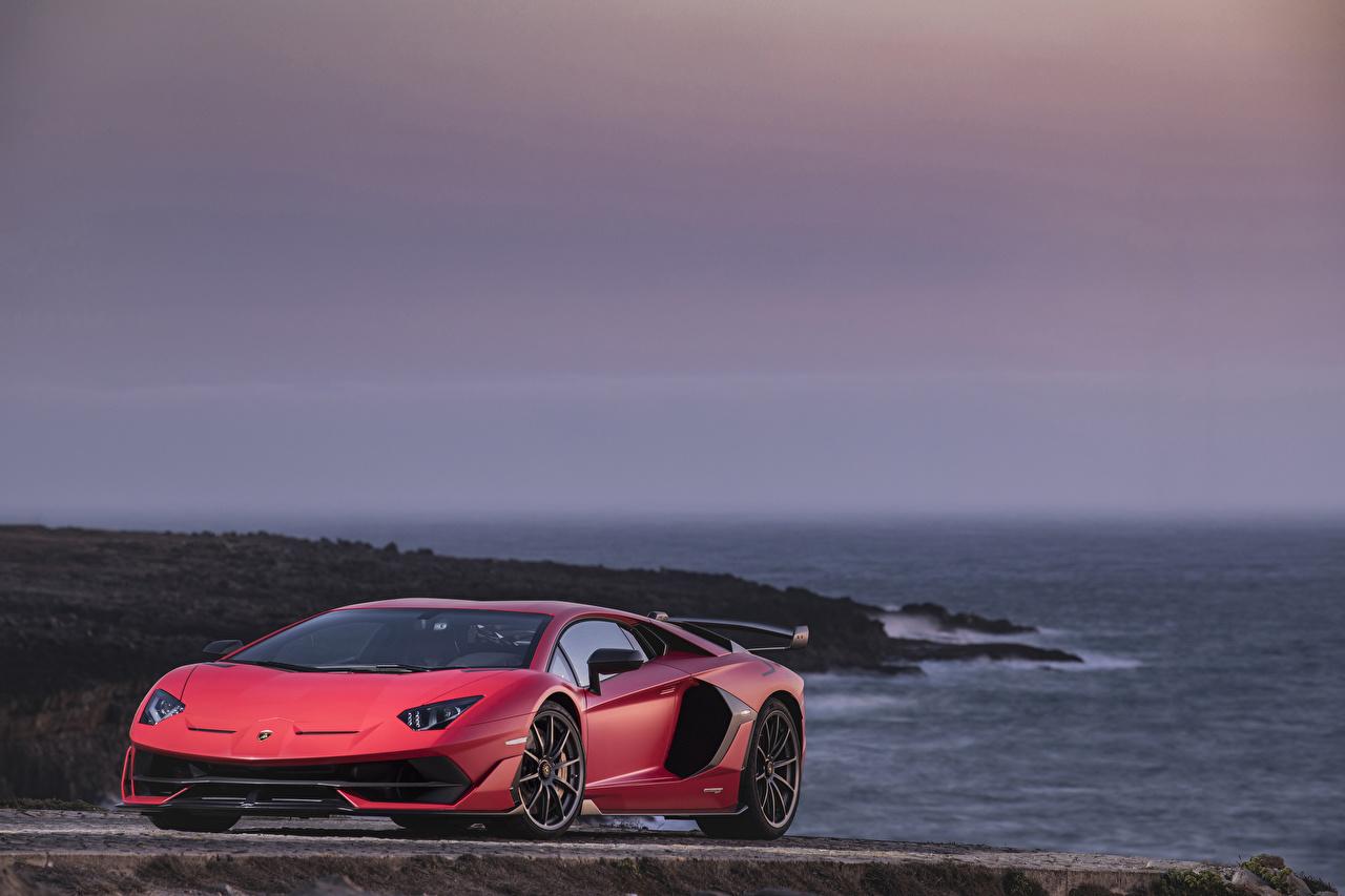 Фото Ламборгини 2018 Aventador SVJ Worldwide Красный машины Lamborghini красных красные красная авто машина автомобиль Автомобили