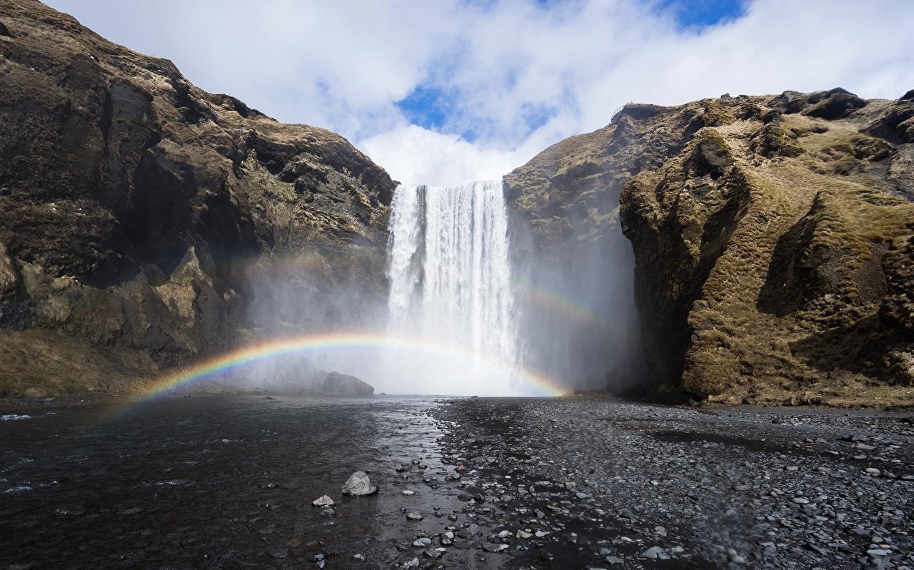 Фотография Скала Радуга Природа Водопады речка Утес Реки