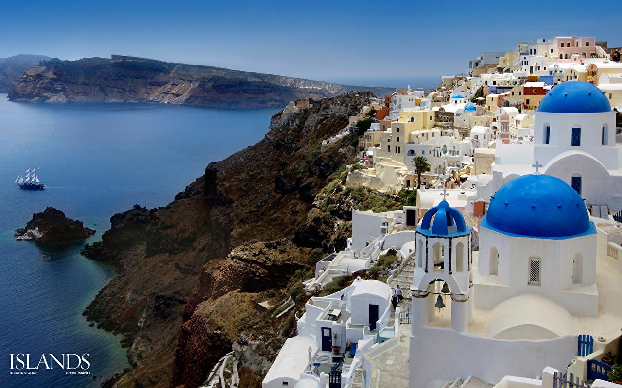 Обои для рабочего стола Санторини Греция Aegean Sea Oia Побережье Дома Города Тира Фира берег город Здания