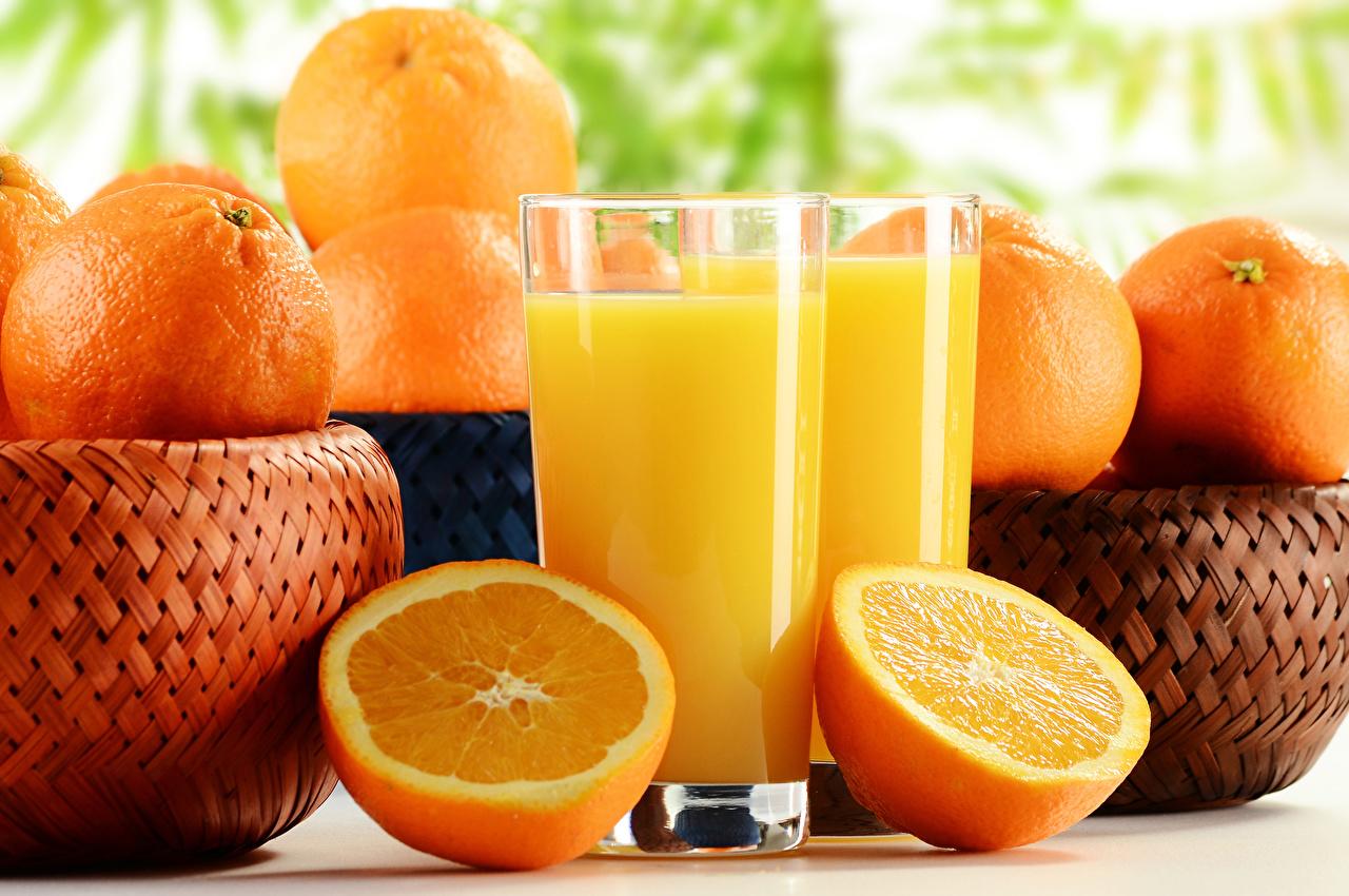Картинка Сок Апельсин Мандарины стакана Пища Стакан стакане Еда Продукты питания