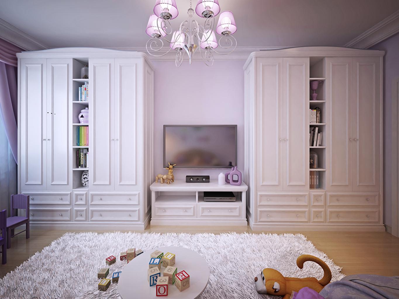 Фотографии Детская комната Интерьер Ковер Люстра Игрушки Дизайн
