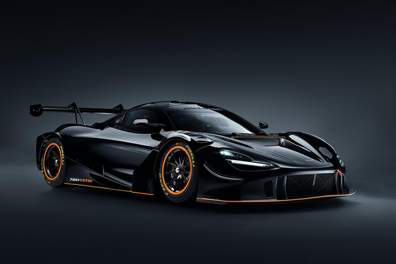 Картинки Макларен 720S GT3X, 2021 черные машины Металлик McLaren черная Черный черных авто машина Автомобили автомобиль