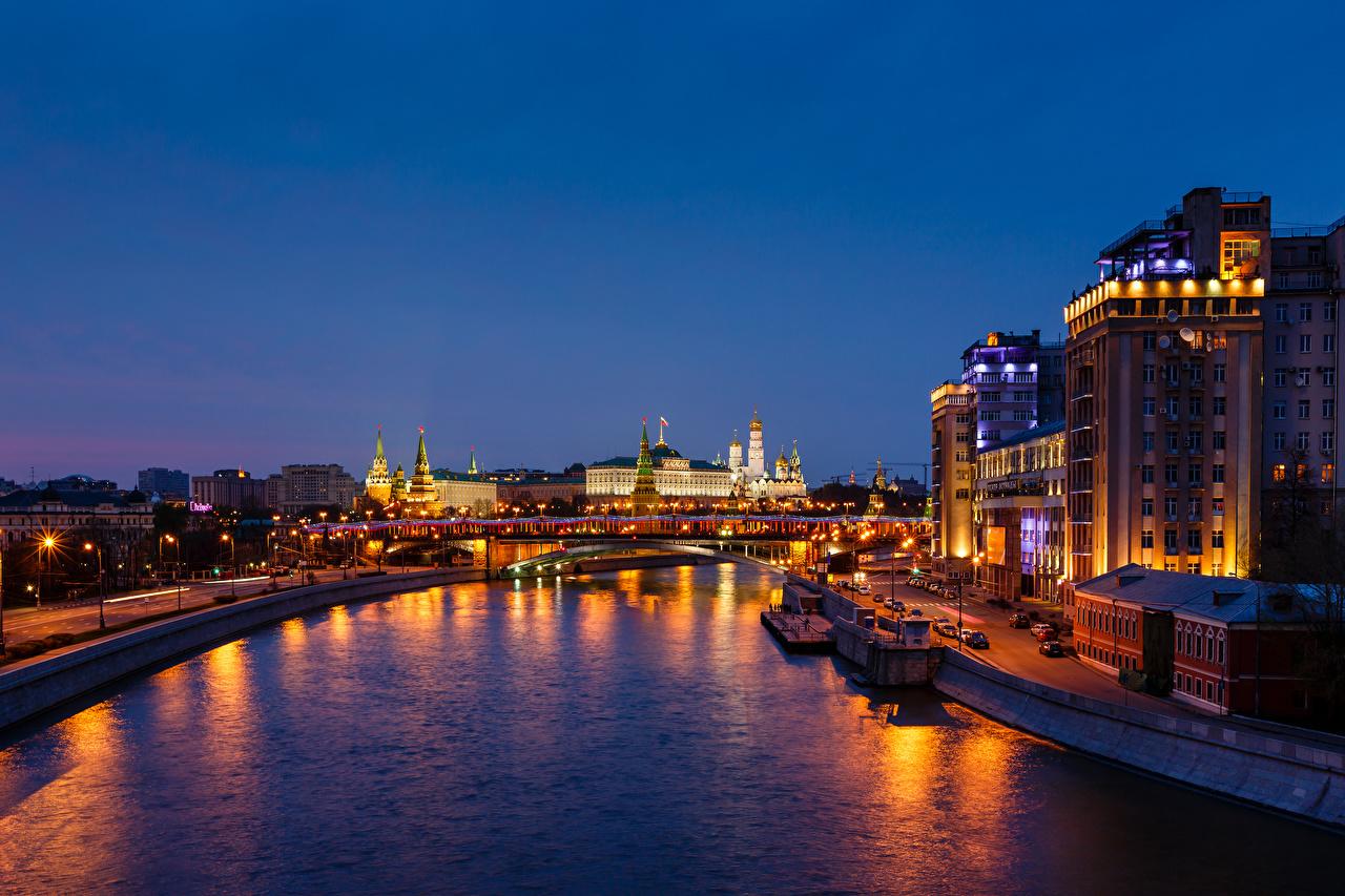 Картинки Города Москва Россия Московский Кремль речка Водный канал город Реки река