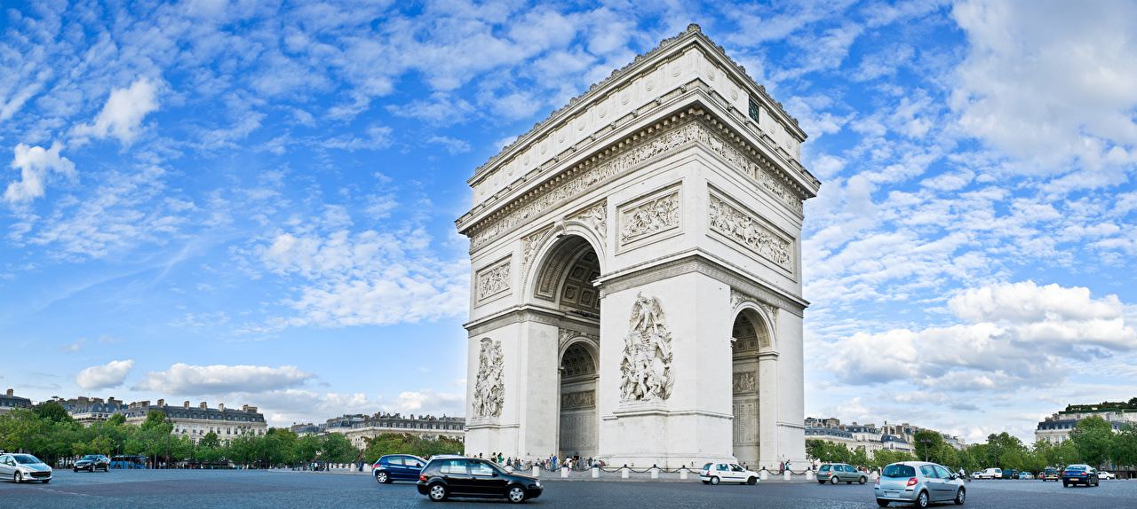 Фото париже Франция арки Arc de Triomphe Небо Города Париж Арка город