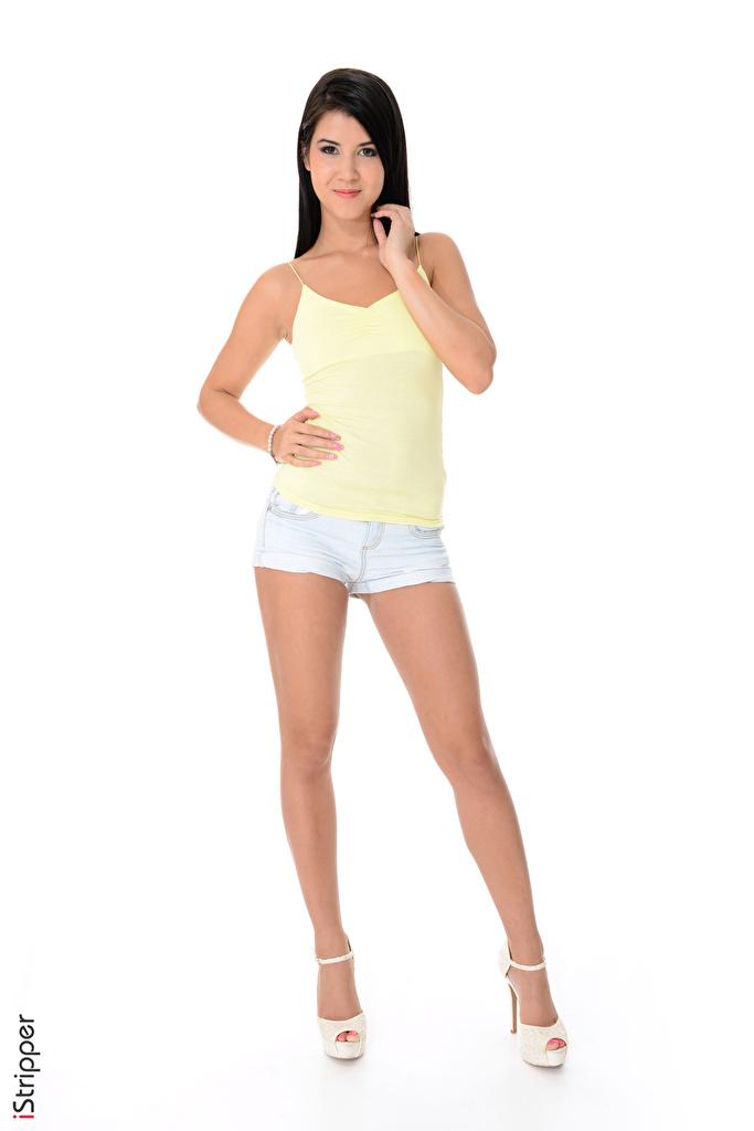 Картинка Lady Dee Брюнетка iStripper Девушки Ноги рука шортах белым фоном туфель  для мобильного телефона брюнетки брюнеток девушка молодая женщина молодые женщины ног Руки шорт Шорты Белый фон белом фоне Туфли туфлях