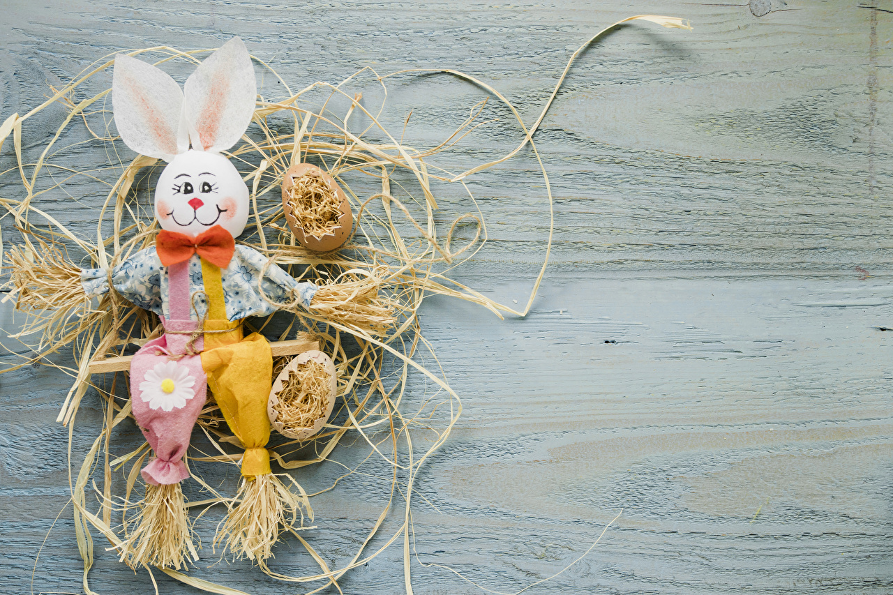 Картинки Пасха Кролики яиц соломе Бантик Доски Дизайн кролик яйцо Яйца яйцами бант Солома бантики дизайна