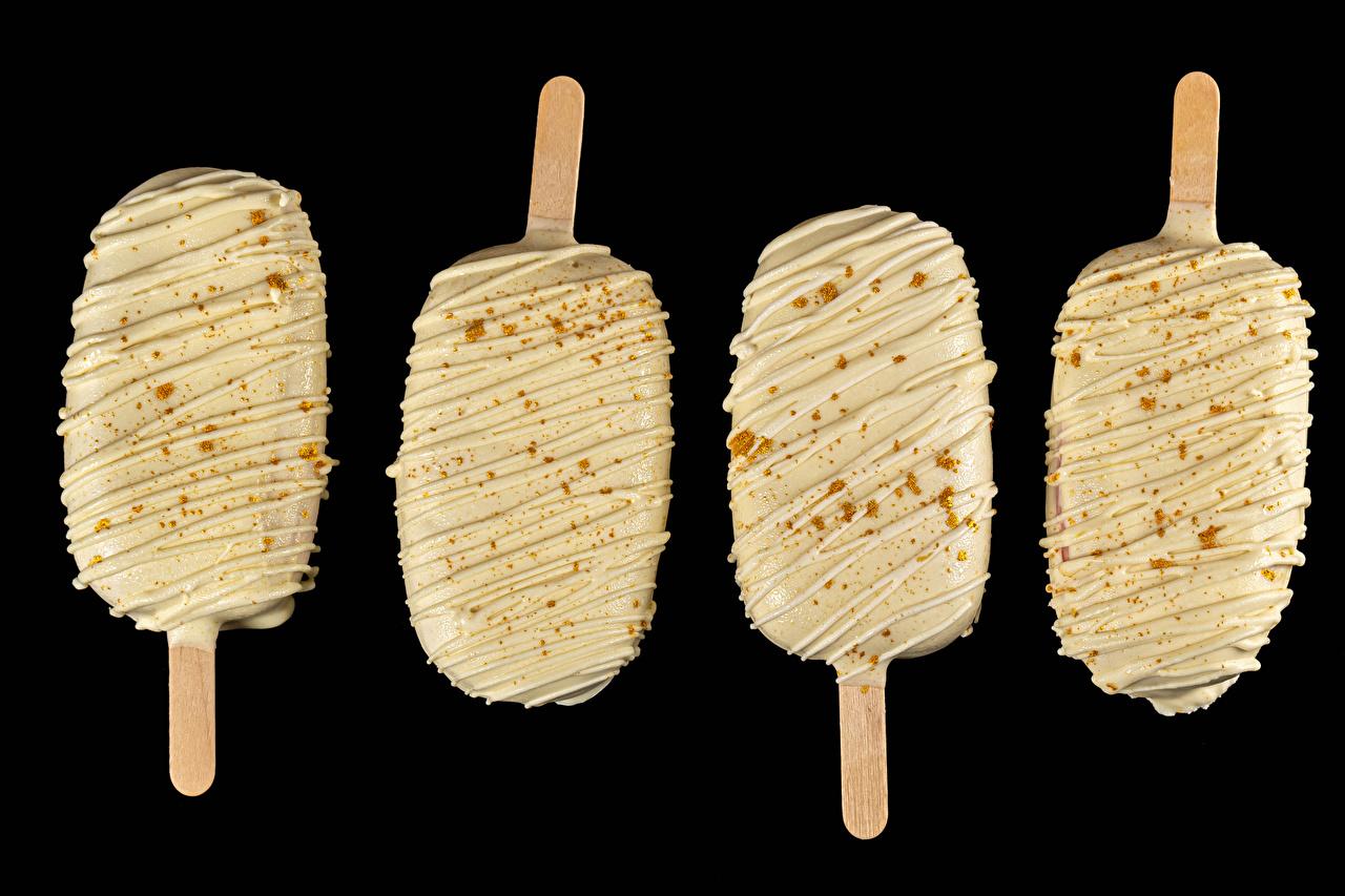Обои для рабочего стола Мороженое Еда Черный фон Пища Продукты питания на черном фоне
