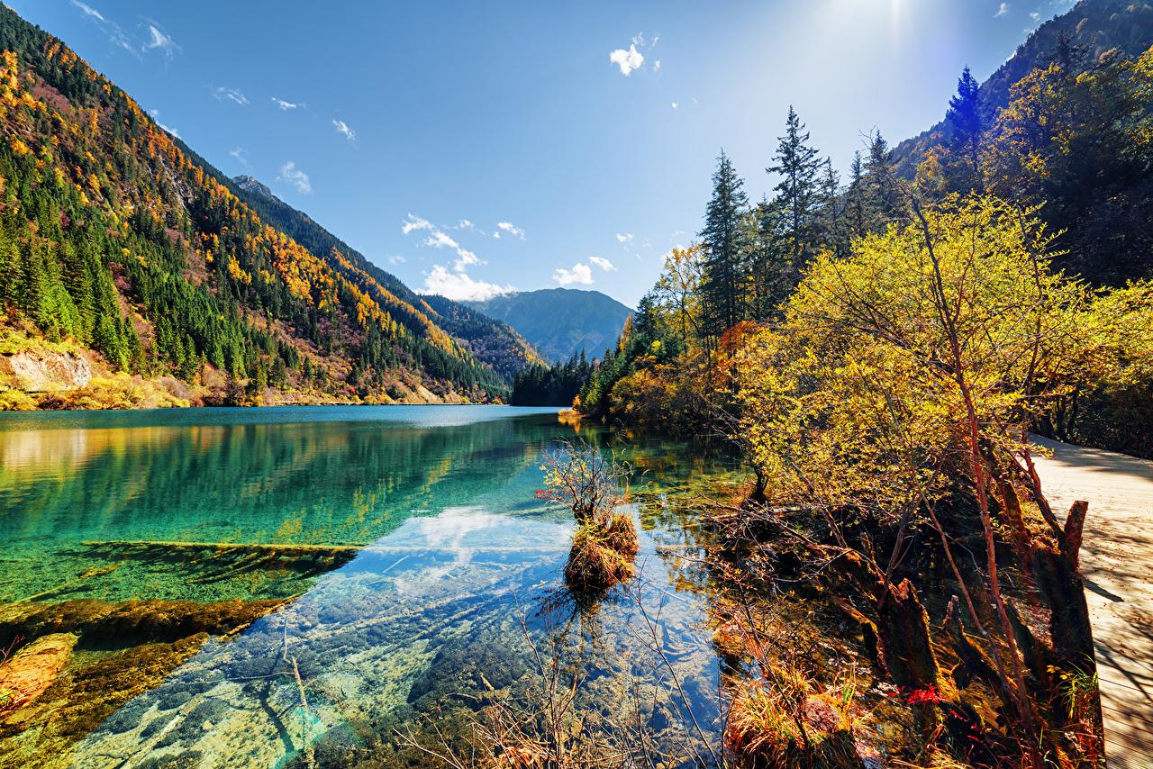 Обои для рабочего стола Цзючжайгоу парк Китай гора Осень Природа парк Озеро Пейзаж Горы осенние Парки