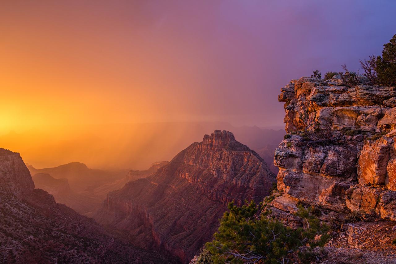 Обои для рабочего стола Гранд-Каньон парк США гора Природа Парки рассвет и закат штаты америка Горы парк Рассветы и закаты