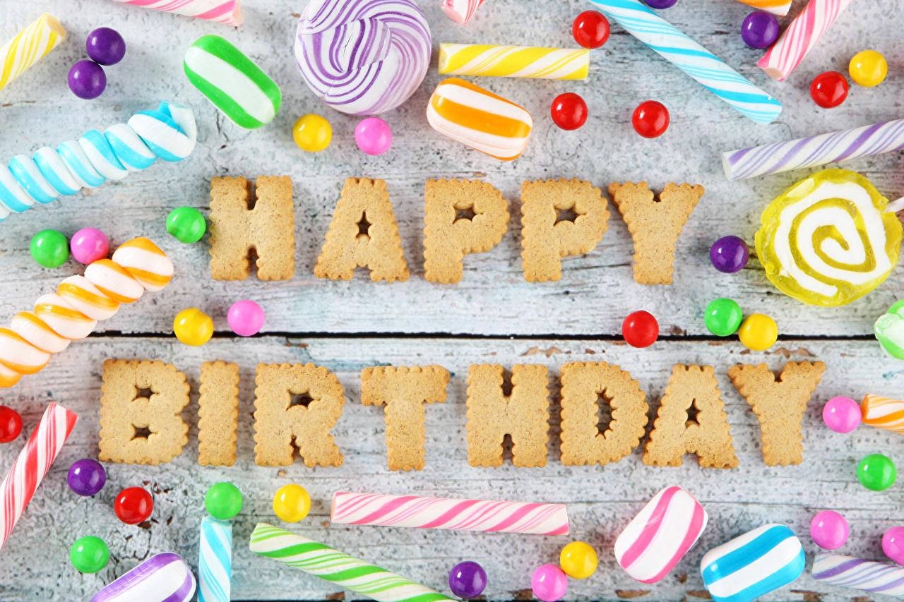 Фотография День рождения инглийские Конфеты слова Пища Сладости Доски Английский английская текст Слово - Надпись Еда Продукты питания сладкая еда