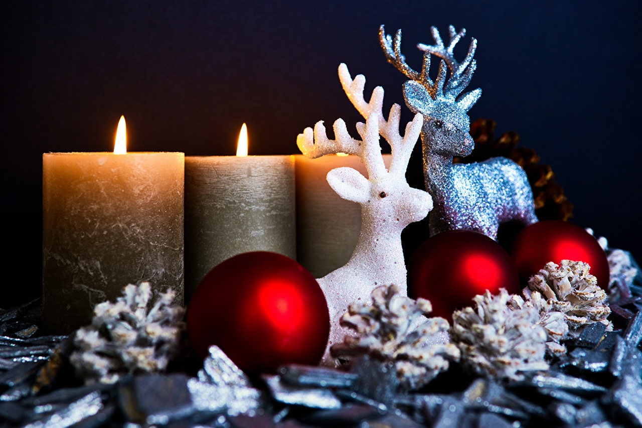Обои для рабочего стола Олени Новый год с рогами Огонь Свечи Шишки Шарики Рождество Рога пламя Шар шишка