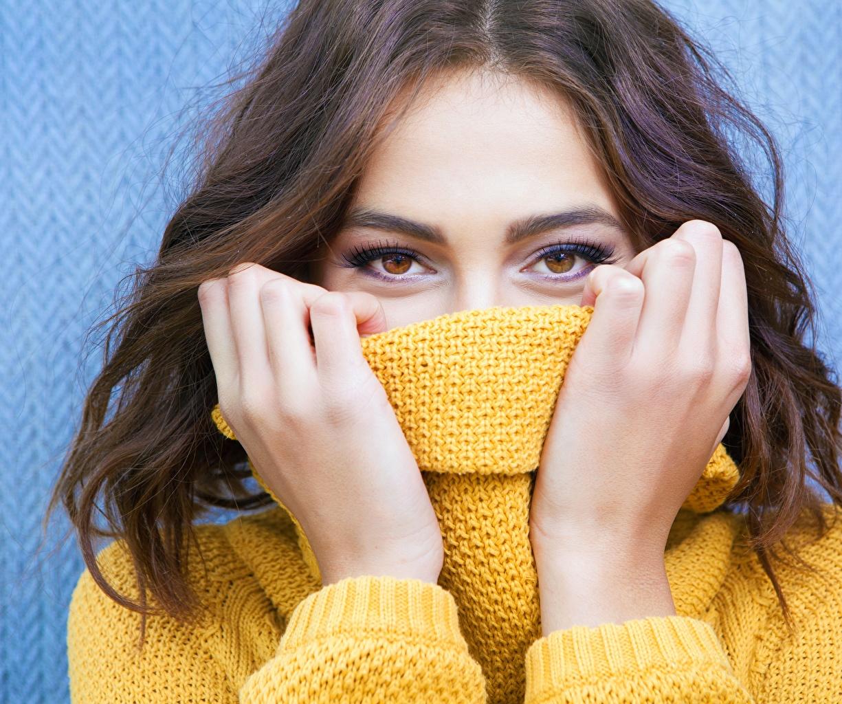 Фотографии Глаза шатенки молодые женщины Свитер рука Взгляд Шатенка девушка Девушки молодая женщина свитера свитере Руки смотрят смотрит