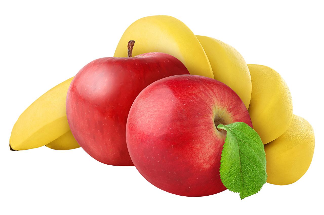 Фотографии Яблоки Бананы Фрукты Продукты питания белом фоне Еда Пища Белый фон белым фоном