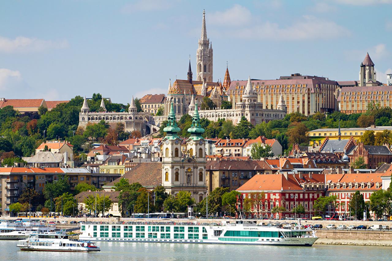 Фото Будапешт Венгрия Danube Речные суда речка Города Реки река город