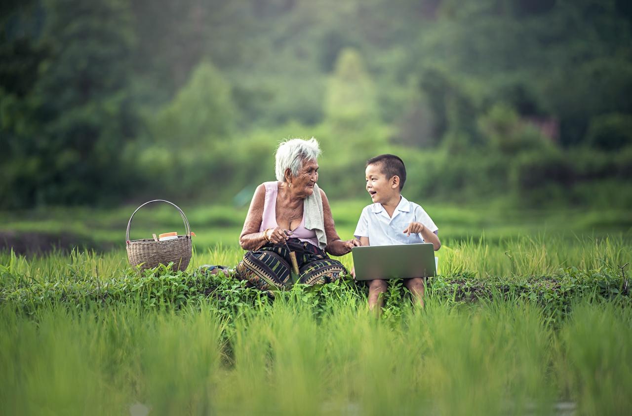 Фотографии Ноутбуки Мальчики Старуха Дети вдвоем Азиаты Сидит Трава ноутбук мальчик мальчишки мальчишка старая женщина пожилая женщина ребёнок 2 два две Двое азиатка азиатки сидя траве сидящие