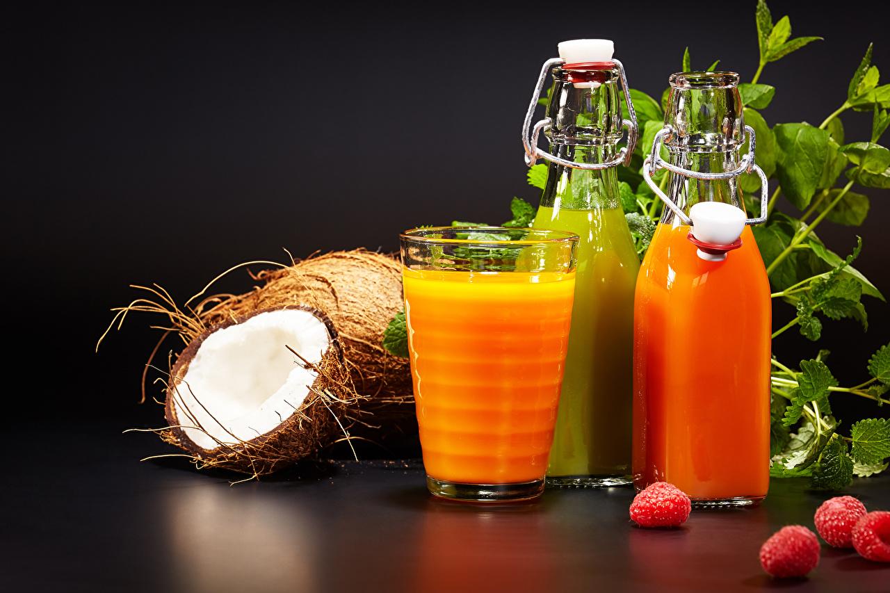 Картинки Сок Стакан Кокосы Малина Пища Бутылка Еда Продукты питания