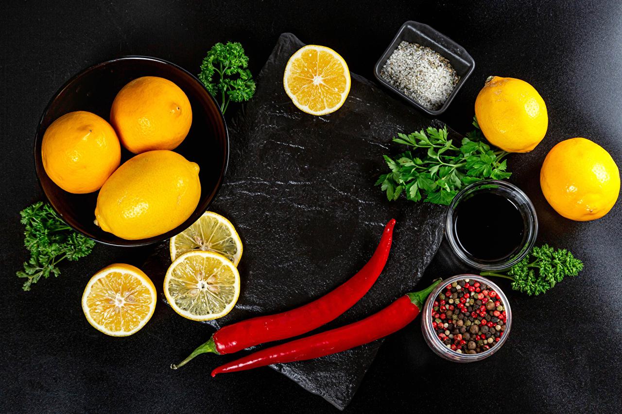 Фото Апельсин Перец чёрный Острый перец чили солью Лимоны Еда Овощи соли Соль Пища Продукты питания