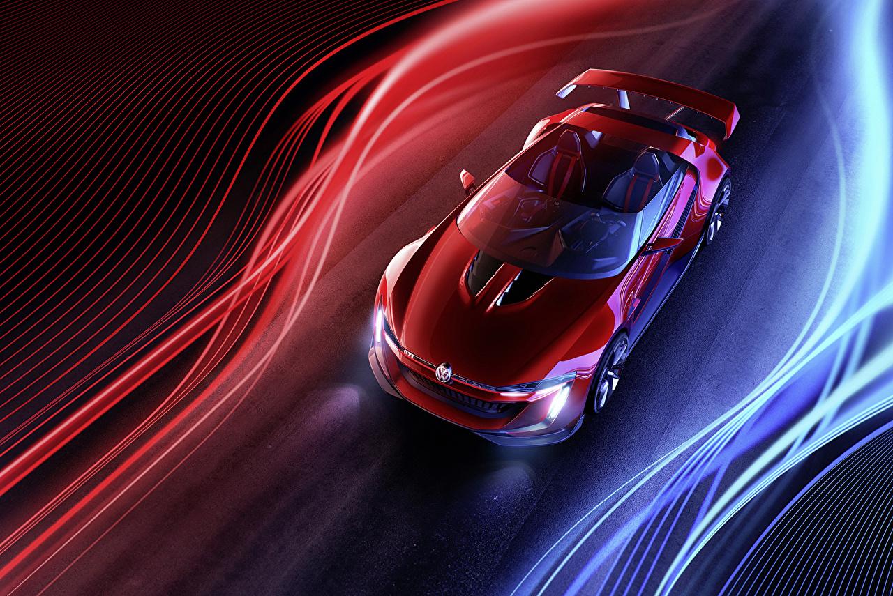 Обои для рабочего стола Volkswagen 2014 GTI roadster Родстер Красный Сверху Металлик Автомобили Фольксваген красных красные красная авто машина машины автомобиль