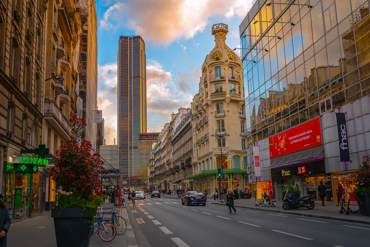 Фото Париж Франция Montparnasse Tower улиц Дороги Небоскребы Дома Города париже Улица улице город Здания