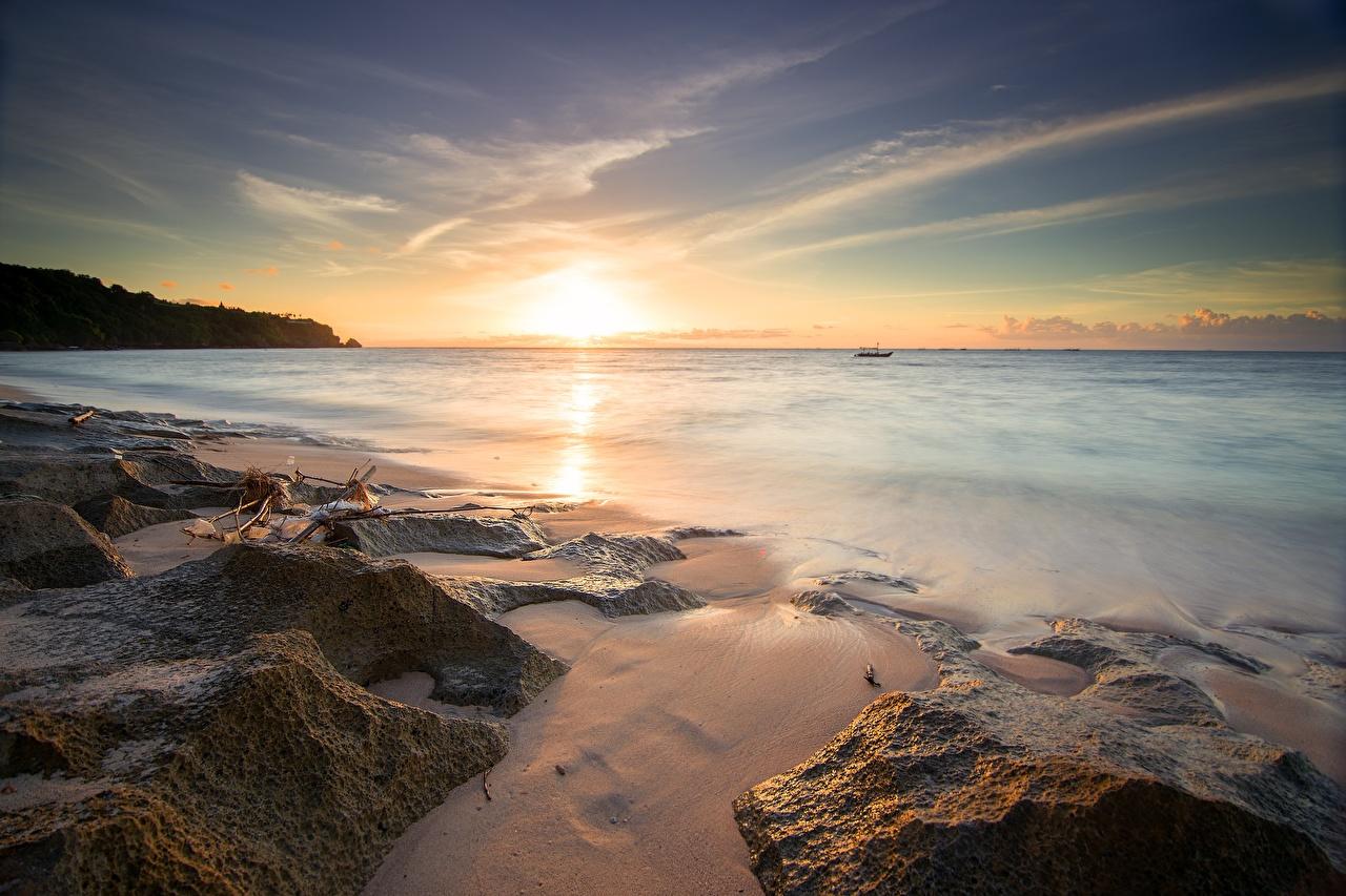 Фотографии Природа Рассветы и закаты Камень Горизонт Побережье Камни берег