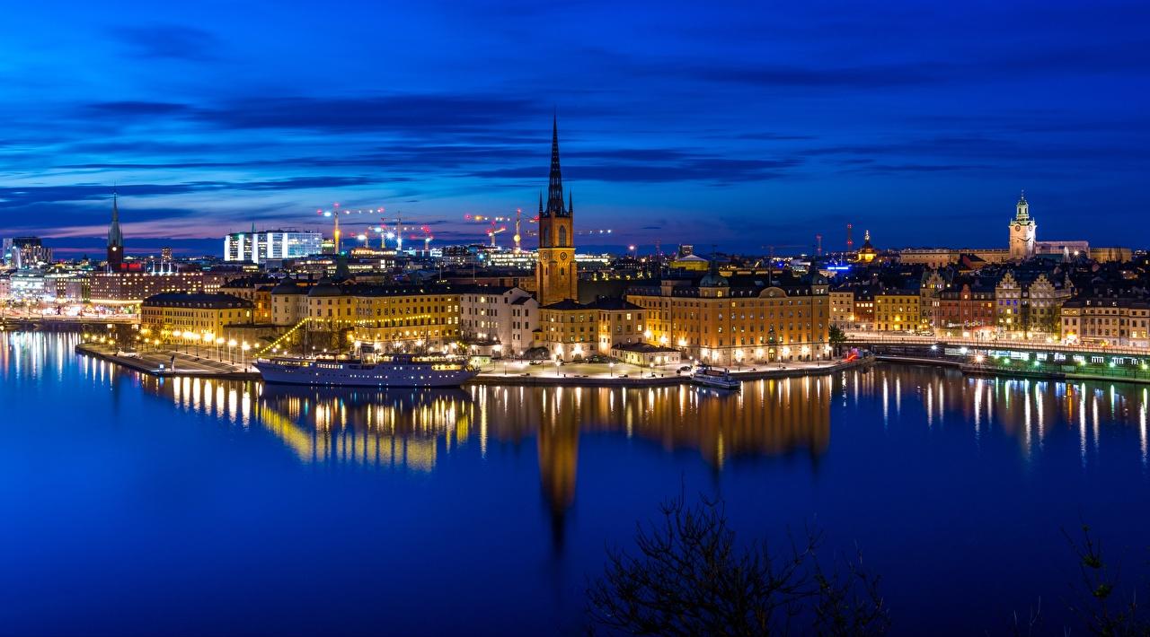 Фото Стокгольм Швеция Riddarholmen Gamla stan берег Вечер Дома город Побережье Города Здания