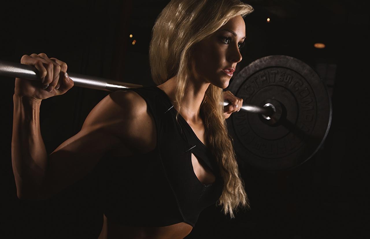 Обои Блондинка Фитнес Спорт Штанга Девушки