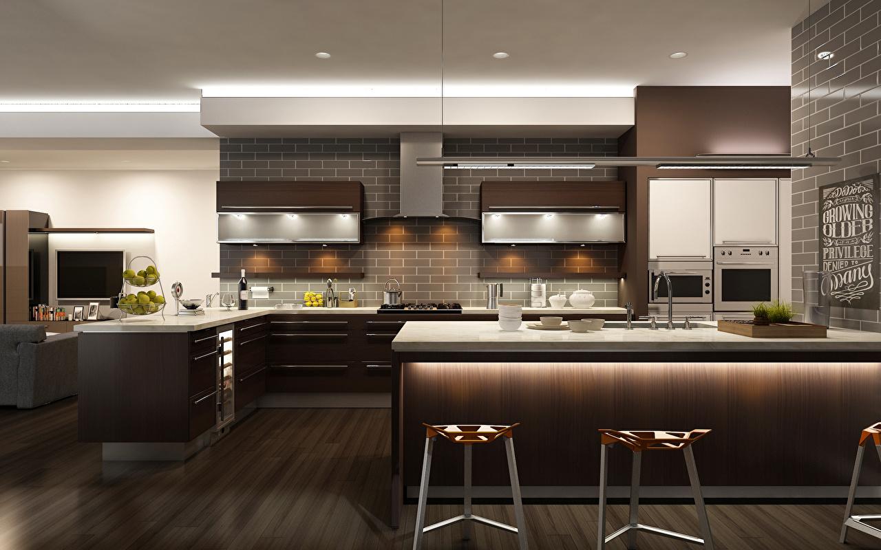 Картинки Кухня 3D Графика Интерьер Стол Дизайн
