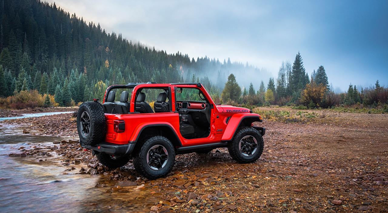 Фото Jeep Внедорожник Wrangler Rubicon, 2018 красные Реки Камни машины Джип SUV красная Красный красных река авто речка Камень машина Автомобили автомобиль