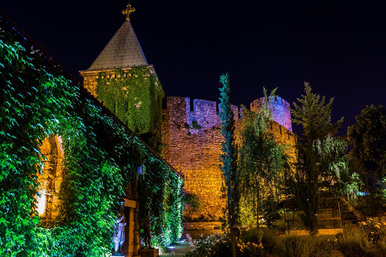 Картинка Сербия Крепость Belgrade Fortress Ночные Города Ночь