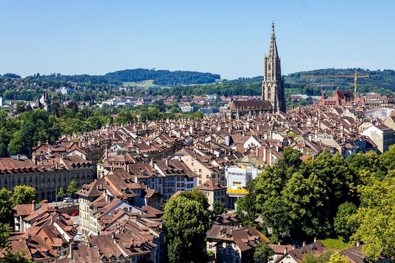 Фотографии Берн Швейцария Башня Здания Города башни Дома город