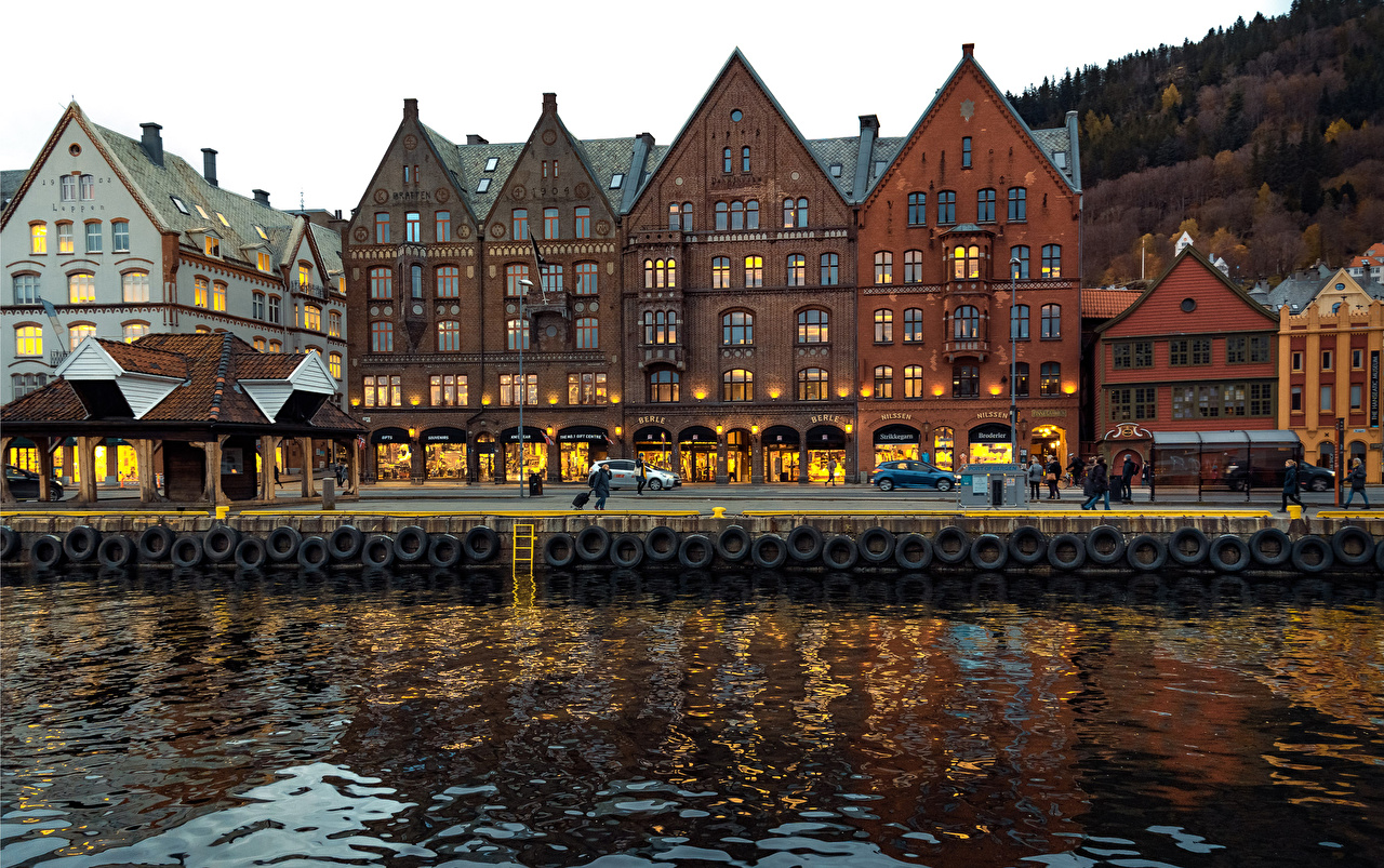 Фотографии Берген Норвегия речка город Здания река Реки Дома Города