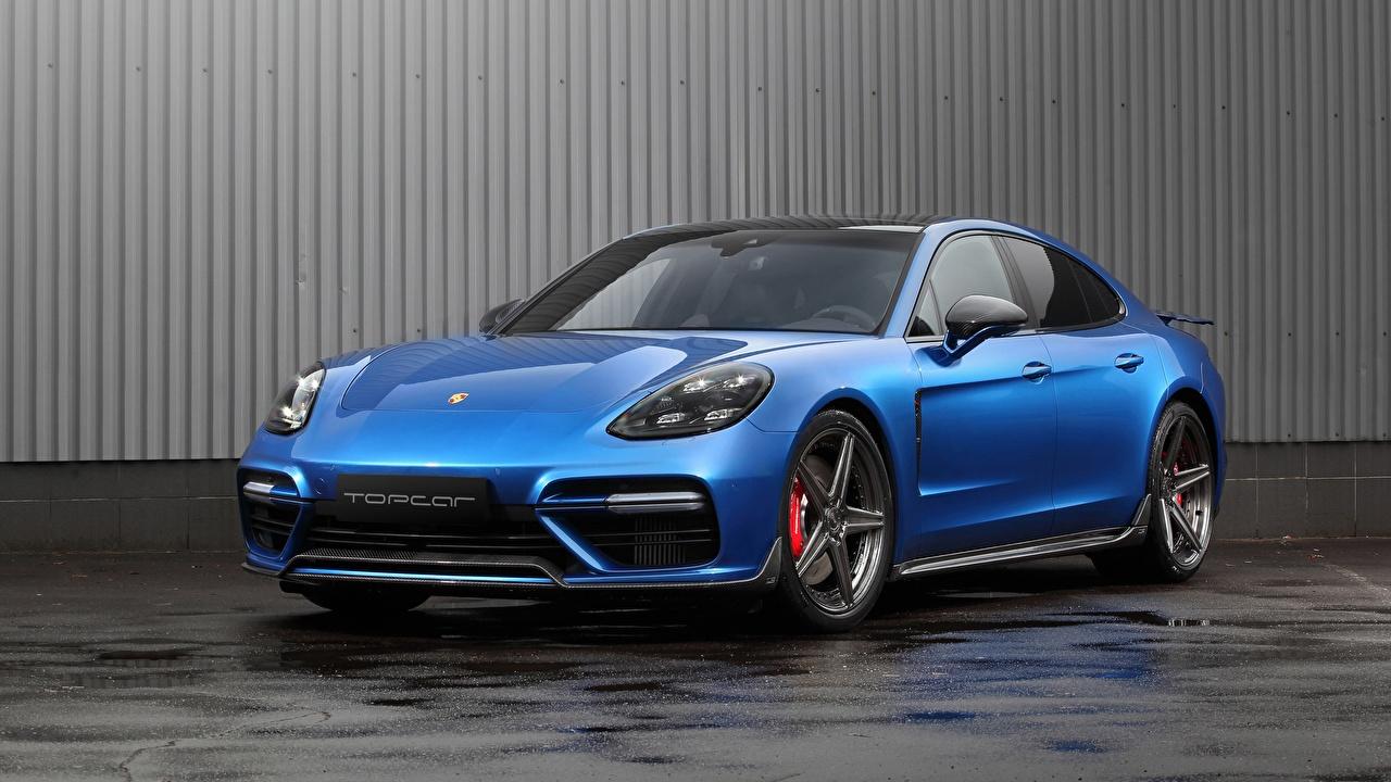 Картинка Porsche Panamera, GT Edition синих авто Металлик Порше синяя синие Синий машина машины Автомобили автомобиль