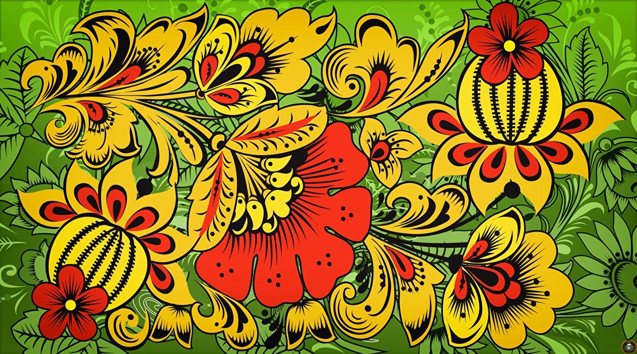 Фотографии Текстура российские Khokhloma цветок Русские Цветы